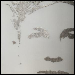"GURU ON WHITE - 2012 - In Situ Gallery – Singapore - Stainless steel nails on black panel – 32"" x 32"""