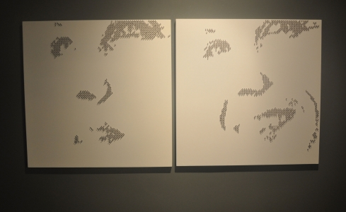 "HOLLY ONE & TWO – 2013 - Metal star charms on stainless steel nails on white lacquered panel - 40""X40"" - US$4500"