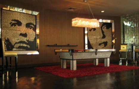 "FRANK AND NORMA JEAN – 2008 – HOTEL RIVIERA - Palm Springs, California - Guatemalan coins and stainless steel nails on four black stained boards  - 80"" x 80"""