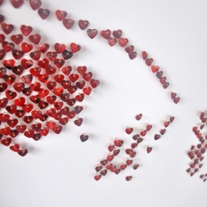 "MOM DETAIL – 2013 Red shell hearts and stainless steel nails on white lacquered board - 60"" x 60"" - N/A"